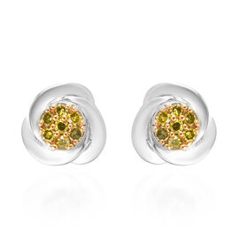 Yellow Diamond Stud Earrings (with Push Back) in Platinum Overlay Sterling Silver