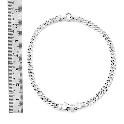 Vicenza Collection- Designer Inspired Sterling Silver Leopard Head Curb Necklace (Size 19), Silver wt. 50.27 Gms.