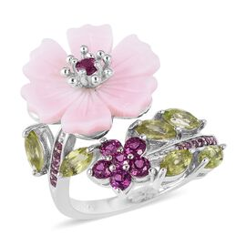 Jardin Collection - Pink Mother of Pearl, Hebei Peridot and Rhodolite Garnet Ring in Rhodium Overlay