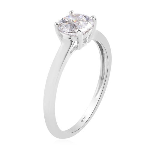 J Francis Platinum Overlay Sterling Silver Solitaire Ring Made with SWAROVSKI ZIRCONIA