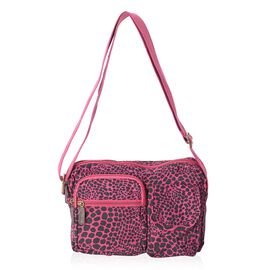 Annabelle Water Resistant Fuchsia Leopard Cross Body Bag and External Zipper Pockets (Size 23x18x7 Cm)