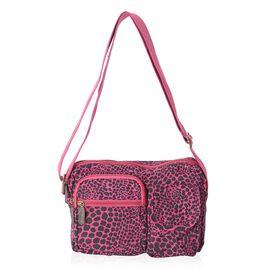 Annabelle Water Resistant Fuchsia Leopard Cross Body Bag and External Zipper Pockets (Size 23x18x7 C