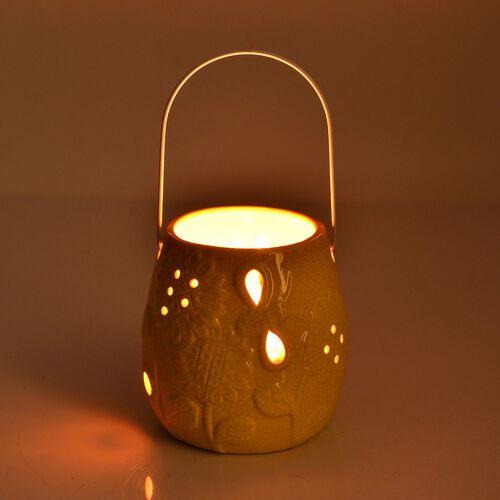 Yellow Colour Sunflower Pattern Ceramic Lantern