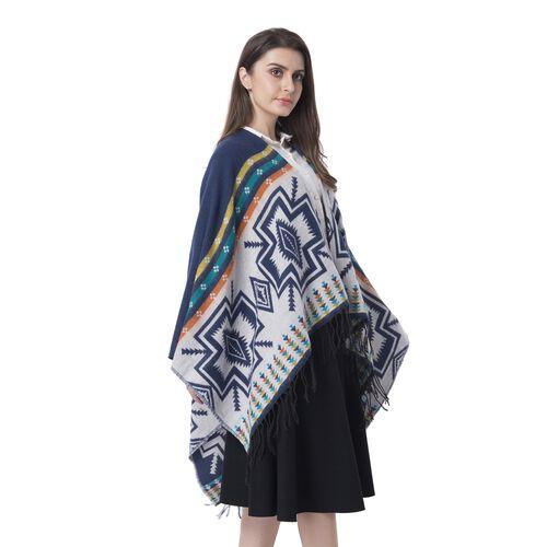 Navy Blue Colour Cross Pattern Blanket Kimono (Size 133x70 Cm)