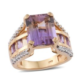 Anahi Ametrine (Oct 6.20 Ct), Amethyst, Citrine and Natural Cambodian Zircon Ring in 14K Gold Overla