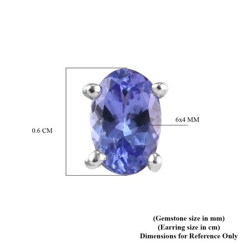 Tanzanite Earrings (with Push Back) in Platinum Overlay Sterling Silver 1.00 Ct.