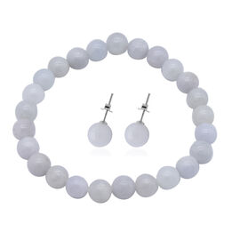 2 Piece Set -  White Jade Stretchable Bracelet (Size 7.5) and Stud Earrings (with Push Back) in Ster