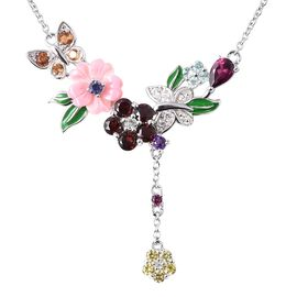 Jardin Collection - Pink Mother of Pearl, Rhodoloite Garnet and Multi Gemstone Enamelled Necklace (S