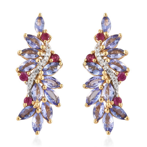 Tanzanite (Mrq), Burmese Ruby and Natural Cambodian Zircon Earrings (with Push Back) in 14K Gold Overlay Sterling Silver 3.500 Ct.