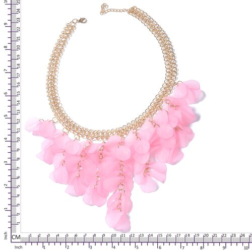 Pink Flower Petals BIB Necklace (Size 20) in Gold Bond.