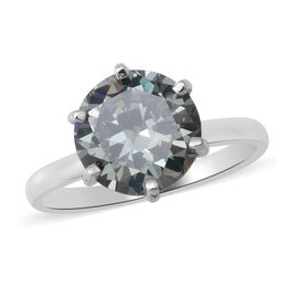 Simulated Color Change Gemstone Solitaire Ring in Rhodium Overlay Sterling Silver