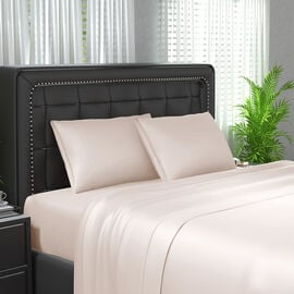 4 Piece Set 100% Bamboo Sheet Set Including 1 Flat Sheet 1 Fitted Sheet and 2 Pillowcases in Ivory