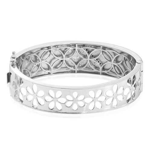 Signature Collection-J Francis - Platinum Overlay Sterling Silver (Rnd) Swarovski Zirconia Bangle (Size 7.5), Silver wt 50.22 Gms.