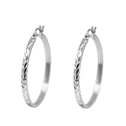 One Time Deal- Sterling Silver Hoop Earrings (with Clasp Lock), Silver wt 4.10 Gms.