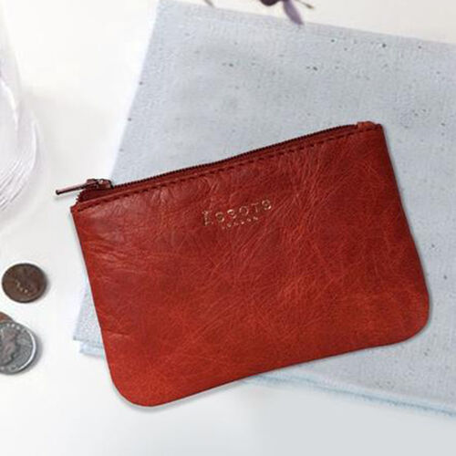 Assots London POPPY Full Grain Leather Zip Top Coin Purse (Size 12x8cm) - Red