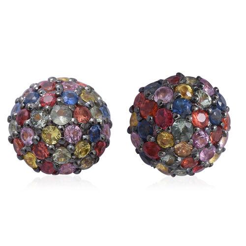 Rainbow Sapphire (Rnd) Stud Earrings (with Push Back) in Black and Gold Overlay Sterling Silver 3.420 Ct.