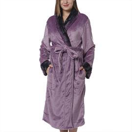 Lilac Colour Plush Long Robe with Faux Fur Collar (64x115cm)