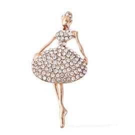 White Austrian Crystal Ballerina Brooch in Gold Tone