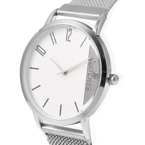 STRADA Japanese Movement Water Resistant Watch with Mesh Chain Adjustable Strap (Size: 6 to 9) - Silver