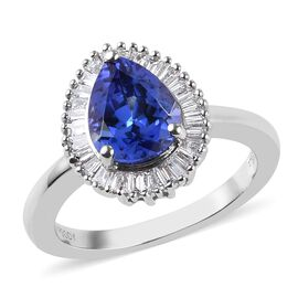 RHAPSODY 950 Platinum AAAA Tanzanite (Pear 9x7mm), Diamond (VS/E-F) Ring 2.08 Ct, Platinum wt 5.68 G