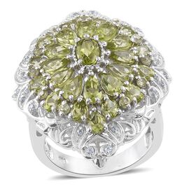 Hebei Peridot (Ovl), Natural Cambodian Zircon Ring in Platinum Overlay Sterling Silver 6.500 Ct. Silver wt 10.50 Gms.