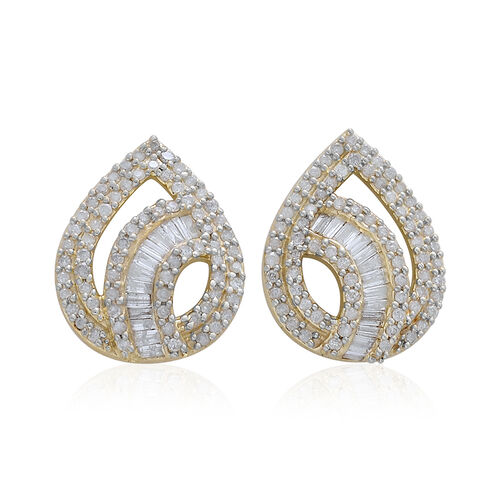 9K Yellow Gold SGL Certified Diamond (Bgt) (I3/G-H) Stud Earrings (with Push Back) 1.000 Ct. Number of Diamonds 168