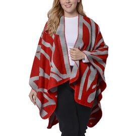 Red and Grey Colour Raised Grain Pattern Blanket Kimono (Size 133x70 Cm)