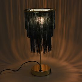 3 Layer Tassel Table Lamp with Two USB Port (H-42 Cm) - Blue
