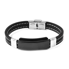 Mens Bracelet in Black and Silver Plated Stainless Steel 8.25 Inch