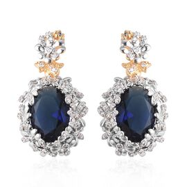 Simulated Blue Sapphire and Simulated Diamond Floral Drop Earrings in Silver and Gold Tone
