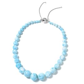 Signature Collection -  Larimar (Rnd 6-20mm) Adjustable Graduated Beads Necklace (Size 18-22) with Magnetic Clasp in Rhodium Plated Sterling Silver 590.000 Ct.