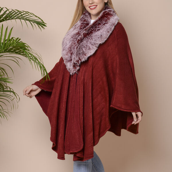 Half Moon Faux Fur Collar Cape (Size 124x76 Cm) - Whine Red
