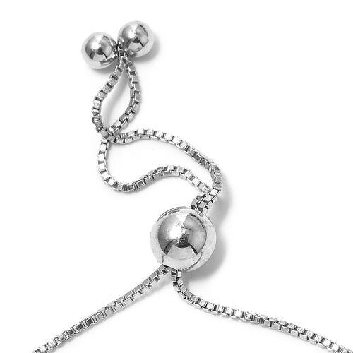 Diamond (Rnd) Adjustable Bracelet (Size 6 to 9.5) in Platinum Overlay Sterling Silver.
