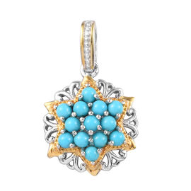 1 Carat Arizona Sleeping Beauty Turquoise Floral Cluster Pendant in Platinum and Gold Plated Silver