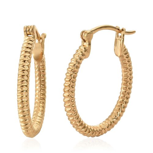 14K Gold Overlay Sterling Silver Hoop Earrings (with Clasp Lock), Silver wt 4.97 Gms.