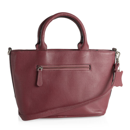 Exclusive Collection- 100%  Premium Leather RFID Blocker True Red Buckle Handbag with Removable Shoulder Strap (37cm x24cm x 13.5cm)