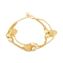 RACHEL GALLEY 8 Inch Connecting Heart Bracelet in Gold Plated Sterling Silver 15.44 Grams