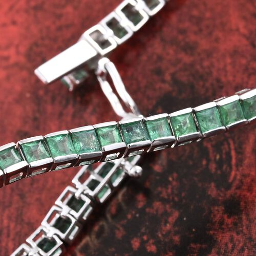 Limited Edition - 9K White Gold AAA Kagem Zambian Emerald (Princess) Bracelet (Size 7.5) 8.250 Ct.Gold Wt 10.02 Gms
