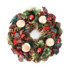 Christmas Decoration Wreath with Four Candle Holder (Dia 35 Cm) - Red