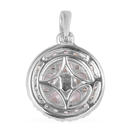 J Francis Platinum Overlay Sterling Silver Pendant Made with SWAROVSKI ZIRCONIA