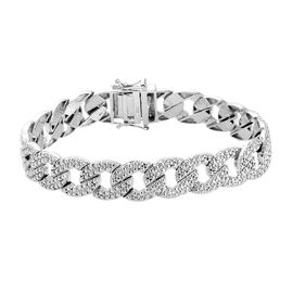 Diamond Curb Link Bracelet in Platinum Plated 7.5 Inch