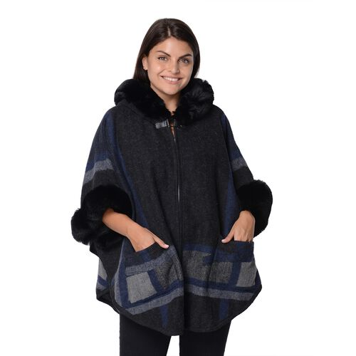 Geometry Pattern Half Round Shape Blanket Wrap with Faux Fur Hat, Sleeves and Two Front Pockets (Siz