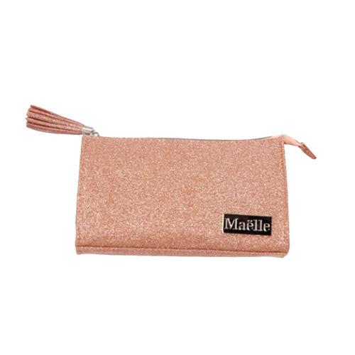 Maelle: Glam & Go Beauty Bag (21x5cm)  in Peach Colour
