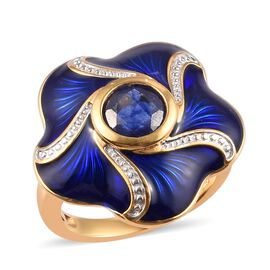 Masoala Sapphire Enamelled Floral Ring in 14K Gold Overlay Sterling Silver 2.00 Ct, Silver wt 6.30 G