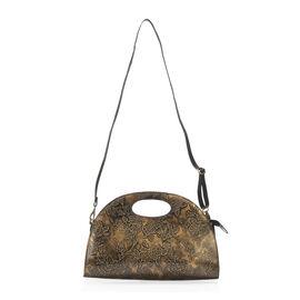 100% Genuine Leather Metallic Bronze Colour Handpainted Flower Pattern Handbag with RFID Blocking (S