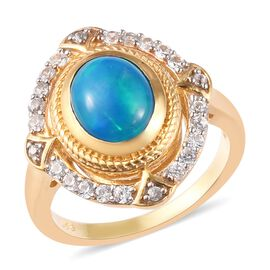 Miami Blue Welo Opal and Cambodian Zircon Ring in 14K Gold Overlay Sterling Silver 1.50 Ct.