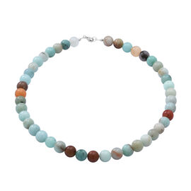 Close Out Deal- Multi Aquamarine Quartz Necklace (Size 18) in Rhodium Plated Sterling Silver 303.00
