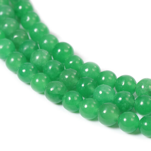 Green Jade Three Strand Bead Necklace (Size 18) with Magnetic Clasp in Sterling Silver 436.00 Ct.