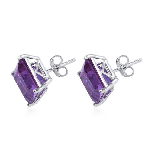 Lavender Alexite (Sqr) Stud Earrings (with Push Back) in Platinum Overlay Sterling Silver 8.750 Ct.