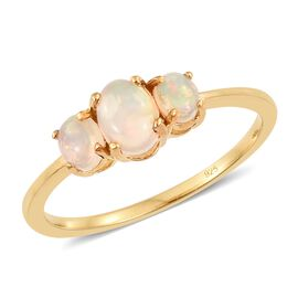 Ethiopian Welo Opal (Ovl) 3 Stone Ring in 14K Gold Overlay Sterling Silver 1.000 Ct.